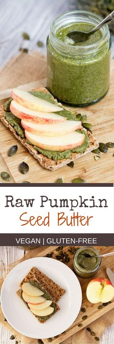 Raw Pumpkin Seed Butter is the perfect replacement for any kind of nut butter, coming from seeds rather than nuts it can be enjoyed by people suffering from nut allergies. In my opinion, it is also richer in flavours and has a creamier consistency which m Homemade Pumpkin Seeds, Pumpkin Seed Recipes, Pumpkin Seed Butter, Toasted Pumpkin Seeds, Homemade Applesauce, Roast Pumpkin, Vegan Pumpkin, Healthy Pumpkin, Pumpkin Pumpkin