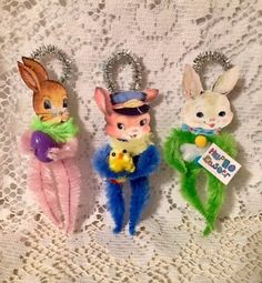 3 Vintage Style Chenille Easter Bunnies  Feather Tree Ornaments