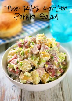 The Ritz Carlton Potato Salad Recipe - heirloom potatoes tossed in mayonnaise, celery, fresh chives and tarragon, and lemon juice - tastes amazing. Everyone always asks for the recipe!