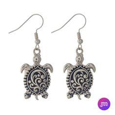 Silver Tone Sea Life Drop Earrings