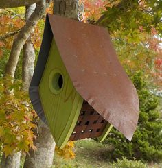 I call this birdhouse design the Magpie! The shape reminds me of the cartoon characters Heckle & Jeckle, the magpie birds that were always getting into trouble. I use Western Red Cedar which is the preferred wood for birdhouses because of its natural resistance to rot and insect infestations. The roof and sides are made using reclaimed roofing tin from dismantled chicken coops and barns that once stood in the foothills of Upstate, South Carolina. Fully functional and extremely attractive ...