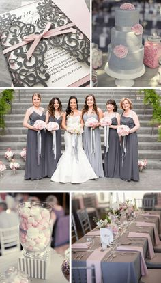 Top 8 November Wedding Color Ideas for 2019 - Grey + Pink. wedding colors Top 8 November Wedding Color Ideas for 2019 Grey Wedding Theme, Gray Wedding Colors, Grey Wedding Invitations, Wedding Color Schemes, Pink Grey Wedding, Green Wedding, November Wedding Colors, Navy Blue Bridesmaid Dresses, Bridesmaid Gifts