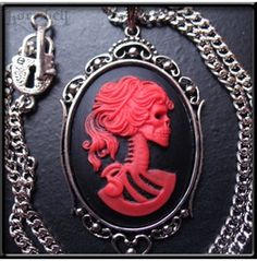 Red Skeleton Lady Cameo Necklace