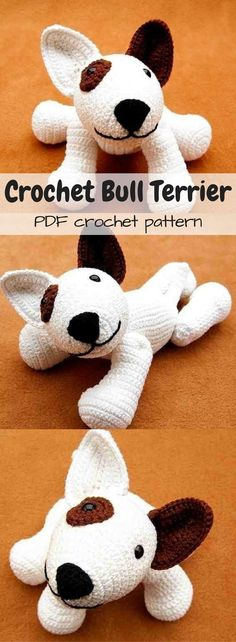 Adorable crochet pattern for this bull terrier dog! Love this cute puppy pattern... reminds me of Don Cherry's dog Blue! #etsy #ad