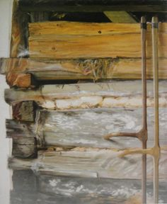 """Part I  """"14 years ago I painted THE BARN. It was in the summer of 1998, at home, in Bucea, a village of Cluj County. """"Our small homestead""""as my mother used to call it, was made of a cow, a few hens and we that is my mother, my wife Livia, our children Oana and Daniel, and I. At that time, the customs of the traditional mountain village were sill working, escaped from the socialist """"blessings"""", in which the people were still land owners and could breed cattle. [...]..rest of the story on FB… Mountain Village, Wooden Walls, Wood Construction, Hens, Cattle, Homestead, Blessings, Art Work, Cow"""