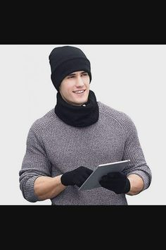 Shop Winter Beanie Hat + Scarf + Touch Screen Gloves 3 in 1 Set Unisex 3 Pieces Warm Set for Men Women - Black now save up 50% off, free shipping worldwide and free gift, Support wholesale quotation! Mens Beanie Hats, Men's Beanies, Knit Beanie Hat, Bonnet Lacoste, Oversized Fashion, Winter Wear For Men, Winter Hats, Winter Leggings, Mens Gloves