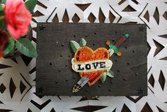 Love Old school / Porta gioie in legno con mosaico di M.us.E mosaico su DaWanda.com