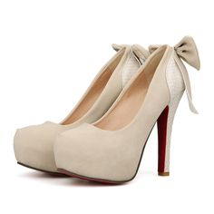 Plus Size High Heel Women Thin Shoes Night Club Bowknot beige