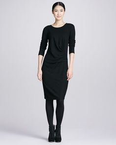 Wool-Stretch Faux-Wrap Dress  by DKNY at Neiman Marcus.