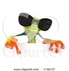 Clipart of a 3d Argie Frog Wearing Sunglasses and Holding a Sign 1 - Royalty Free CGI Illustration by Julos