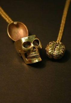 Haha! Left Brain.. right brain...Monserat De Lucca Skull & Brain Friendship Necklace Set.