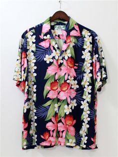 a31a52a963b Orchid   Plumeria Navy Rayon Men s Hawaiian Shirt