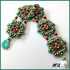 Beaded Bracelet PATTERN Caresi Mu turquoise red