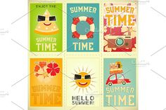 Summer Time Posters Set 4 by elfivetrov on @creativemarket