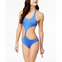 Dolce Vita Cutout Reversible One-Piece Swimsuit ($110) ❤ liked on Polyvore featuring swimwear, one-piece swimsuits, blue, blue swimsuit, one piece bikini, cut-out swimsuits, cutout one-piece bathing suits and blue one piece bathing suit