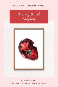 Looking for the perfect January birthday gift for an insect lover? This January Birthstone Art Print features a highly realistic ladybug art drawing, paired with a stunning garnet gemstone. Available for digital download in my Etsy shop, you can print instantly at home! To shop more Bugs and Birthstones art, visit etsy.com/shop/adlayasart! Garnet gemstone drawing | Gemstone drawing art | Insect Wall Art Drawing Art, Art Drawings, Printing Services, Online Printing, Ladybug Art, Garnet Gemstone, Reference Images, Birthday Gifts For Her, Printing Process