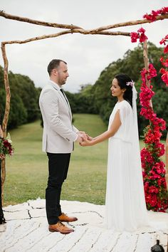 Jess + Matt's Byron Bay wedding was a luxe bohemian love-fest rich with colour, texture and beautiful details. Planned and styled by The Events Lounge. Byron Bay Weddings, Love Fest, Wedding Altars, Moroccan Rugs, Low Tables, California Wedding, Gold Accents, Luxury Wedding, Palm Trees