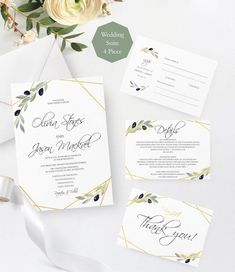 Greenery Wedding Invitation Template, Olive Editable Wedding Invitations, Printable Invitation Suite, Instant Download. #greenery #wedding #invitation #olive #rustic #tuscany #talian
