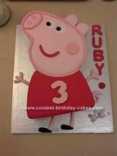 Homemade Peppa Pig Birthday Cake: This Homemade Peppa Pig Birthday Cake was one of the easiest I've made. I got some ideas from previous cakes on here and I was very happy with the end