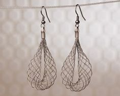 Garosu Girls DNA Drops earrings. Light spiral design in charcoal grey. From www.moxyst.com