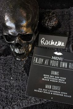 Every adult friendly Halloween party needs an excellent beverage bar. I'm loving the macabre pick your poison drink bar . With it's shade...