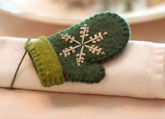 Felt mittens cute for ornament or pin