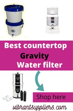 Countertop gravity water filter treats water using gravity and is placed on the tabletop, sink top, kitchen working table or office desk Under Counter Water Filter, Sink Water Filter, Countertop Water Filter, Best Water Filter, Water Filter Pitcher, Water Filters, Reverse Osmosis Water System, Whole House Water Filter, Sink Top