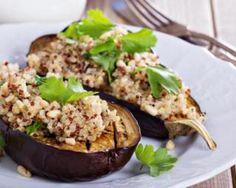 Aubergines farcies au quinoa, tomates s�ch�es, feta et menthe