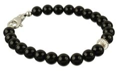"""Men's Black Onyx 8mm Round Bead with Large Sterling Silver Lobster Claw Clasp and Accent Bead Bracelet, 8"""" Amazon Curated Collection. $42.00. Made in United States"""