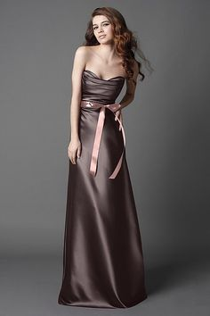 Wtoo Maids style 865 Duchess Satin floor length dress with draped bodice, a-line, bias skirt and plum ribbon sash.