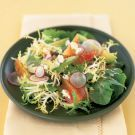 Mesclun Salad with Avocado, Radishes and Oranges Forget the cheese, sub chai seeds for the nuts SALAD