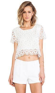 JOA Organza Lace Top in White | REVOLVE