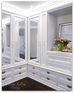 DIY Custom Dressing Room Walk-in Closet   Closet design crown moulding and trim detail, mirror closet doors, LED tape lights   Classy Glam Living