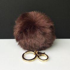 NEW! Faux Rabbit Fur Pom Pom bag Keyring Hot Couture Novelty keychain pom pom fake fur ball in brown