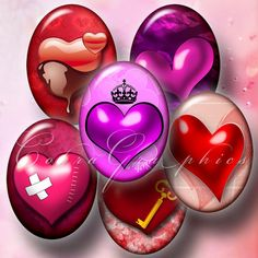 VALENTINE'S 3D Hearts  Digital Collage Sheet by CobraGraphics, $3.90