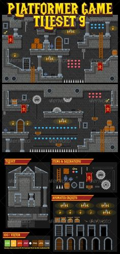 A set of vector game asset / graphic / sprite / art contains ground tiles and several items / objects / decorations, used for creating platformer games.  Suitable for platformer games with medieval, dungeon, castle, fantasy, or kingdom theme.  #game #asset #platformer #spritesheet #sprite #tileset #tile #medieval #rpg