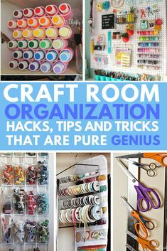 Tons of tips, tricks and hacks to organize all of your craft supplies in your craft room today! Great way to de-clutter the space. Sewing Room Storage, Craft Room Storage, Sewing Rooms, Storage Ideas, Sewing Closet, Craft Storage Solutions, Craft Room Design, Craft Room Decor, Craft Closet Organization