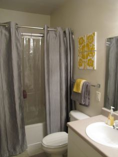 Another Grey And Yellow Bathroom Option I Like The Two Shower Curtains