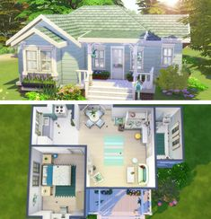 One Level House Plans, Sims 4 House Plans, Sims 4 House Building, Basement House Plans, Sims 4 Modern House, Sims 4 House Design, Small Cottage House Plans, Small Cottage Homes, Small House Layout