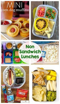 Non Sandwich School Lunches - So many great school lunch ideas in this post! Hot… Non Sandwich School Lunches - So many great school lunch ideas in this post! Hot dogs, quesadillas, mini corn dogs, mac and cheese, taco salad. Kids Lunch For School, Healthy Lunches For Kids, Healthy School Lunches, Toddler Lunches, Kids Meals, Healthy Snacks, School School, Middle School, High School