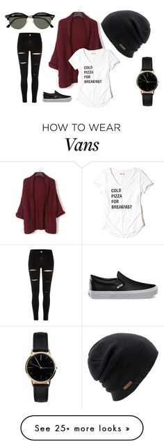 """Cold Pizza"" by white-rose98 on Polyvore featuring River Island, Vans, WithChic, Hollister Co., Freedom To Exist, Coal and Ray-Ban"