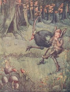 Vintage Childrens Print PETER PAN - Tootles and the Ostrich - Fairies Piping - Toadstools -Stroll Flora White1913 - Matted - Ready to Frame