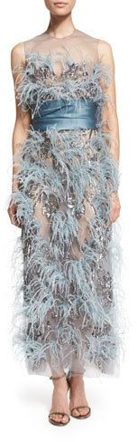 Marchesa Ostrich-Feather Sleeveless Illusion Gown, Blue