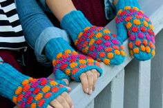Gumdrops traditional and fingerless mittens by Holli Yeoh Gum Drops, Fingerless Mittens, Leg Warmers, Ravelry, Knit Crochet, Knitting Patterns, Polka Dots, Traditional, Knits
