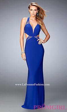 Low V-Neck Open Back Prom Dress by La Femme at PromGirl.com