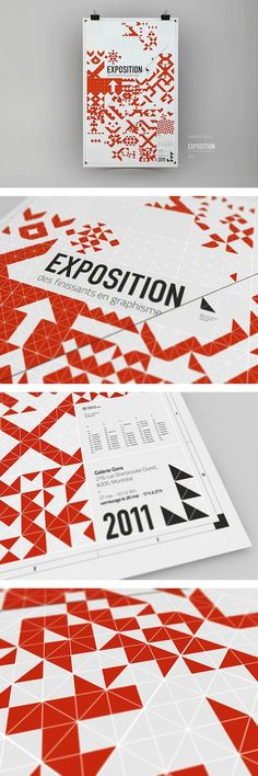 Exposition Poster design based almost entirely on triangles December 2013 Creative Poster Design, Graphic Design Layouts, Creative Posters, Graphic Design Posters, Graphic Design Inspiration, Graphic Prints, Typography Design, Layout Design, Print Design