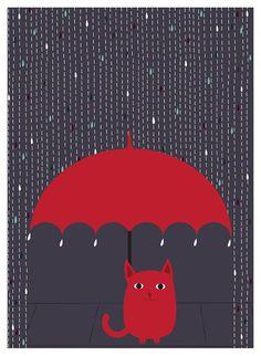 Cat Art Print Giclee Rain Kitty Cat Rain and by strawberryluna, $20.00