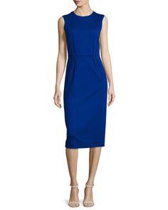 Sleeveless Pleated-Waist Sheath Dress, Blue by Jil Sander Navy at Neiman Marcus.