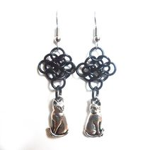 Cat earrings Chainmaille rosettes weave Black cat by DoBatsEatCats