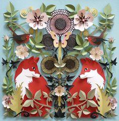 Summer Foxes by Helen Musselwhite #fox #paper #cut #floral #flower #art #scene